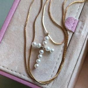 Jewelry - 14k Pearl/Diamond Cross